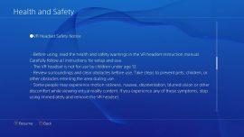 Se muestran datos sobre cuidado de la salud y seguridad en el uso de PlayStation VR 3