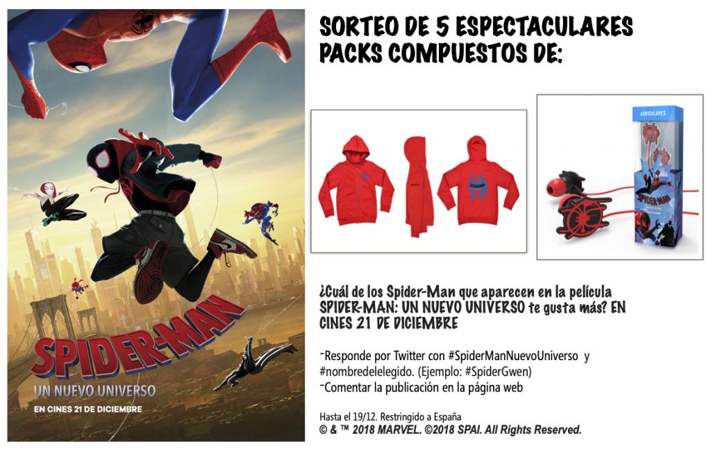 Sorteo de 5 packs de sudaderas y auriculares de Spider-Man: Un nuevo universo